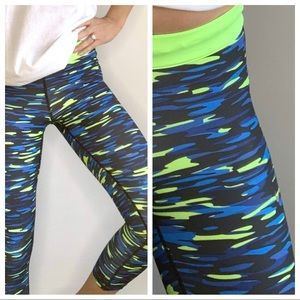 Nike Blue and Neon Green Cropped Leggings Pants S